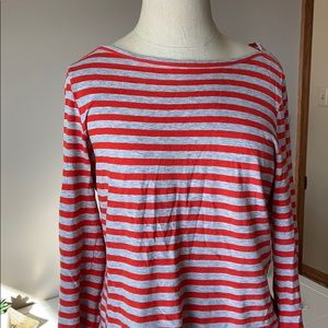 Jcrew orange and gray striped painter t